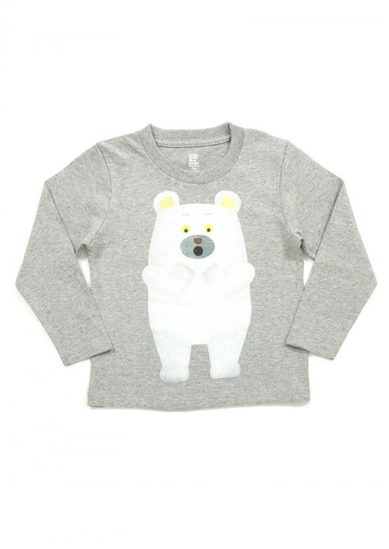camiseta niño manga larga - gris con osito blanco