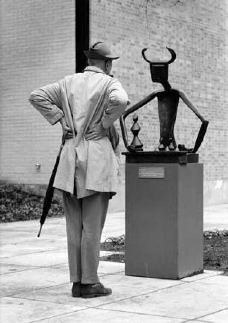 Jacques Tati in the Sculpture Garden of the Museum of Modern Art, New York, 1958. Photo: Yale Joel.: