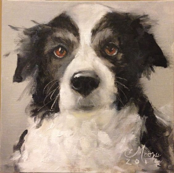 """Border Collie Painting WON 1st Place in Daily Paintworks, January 2014 Contest! 