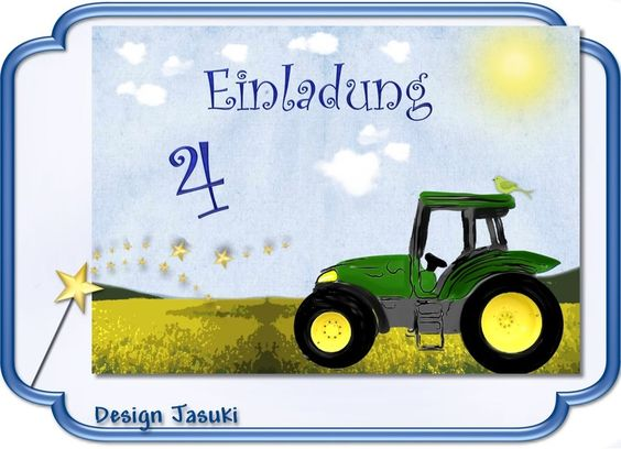 Einladungskarte Kindergeburtstag  Traktor grün von Jasuki auf DaWanda.com