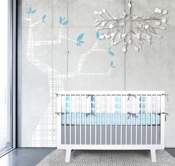 modern vinyl tree wall graphic mural in blue gray white forrest design