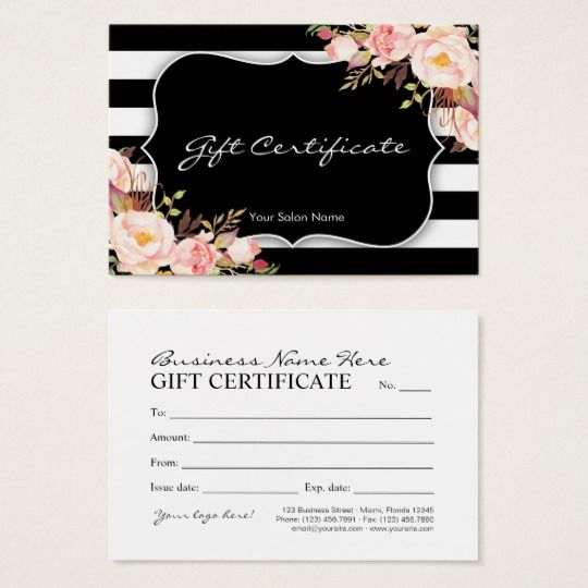 Floral Salon Or Boutique Gift Certificate Template Gift Certificate Template Gift Certificates Salon Business Cards