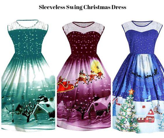 Sleeveless Swing Christmas Dress