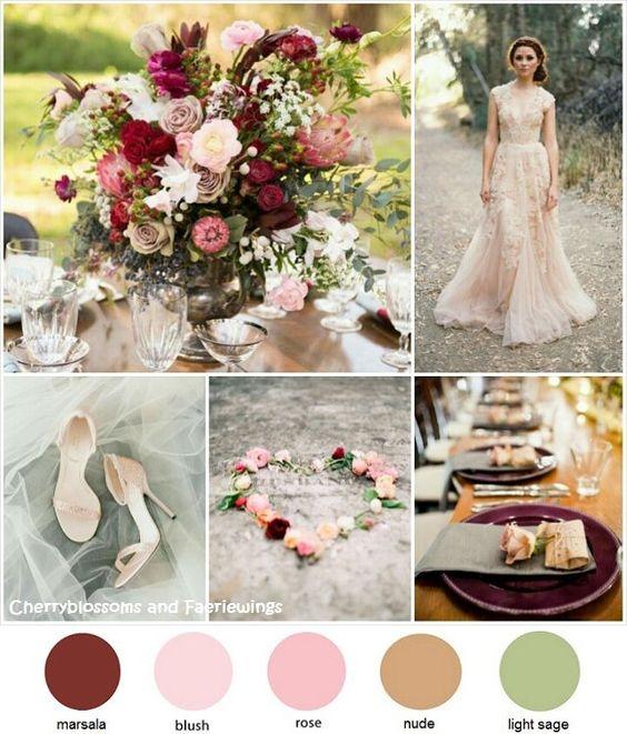Color series 22 marsala blush sage wedding blog for Wedding themes for september