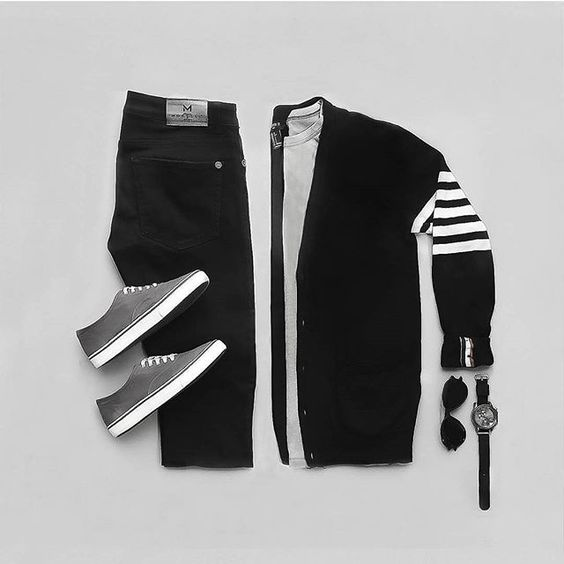 Dark Monochrome in this Stylish Grid by @theterribledresser  🔻  Follow 👉 @stylishgridgame 👈  🔻  💻www.StylishGridGame.com💻  🔻  Brands ⤵️  🔹️Jacket + Shoes + Watch: @forever21men  🔹️T-Shirt: @birchbox  🔹️Jeans: @morelli.milano  🔹️Sunglasses: @asos_man    #Regram via @stylishgridgame