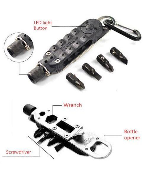 Outdoor Multi-Tool Screwdriver Light LED With Gear Survival Keychain Opener