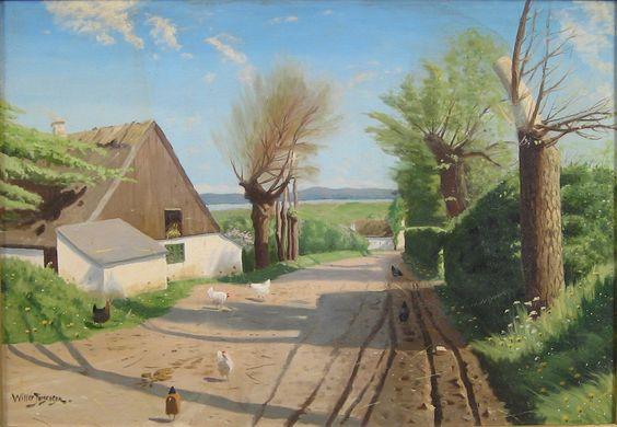 Willer Jorgensen (1850-1930): Vejparti med gårde og høns