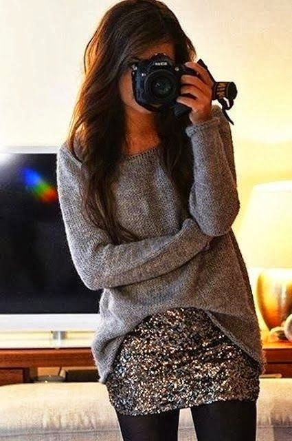 Grey pullover sweater, sequin sparkle skirt, black tights