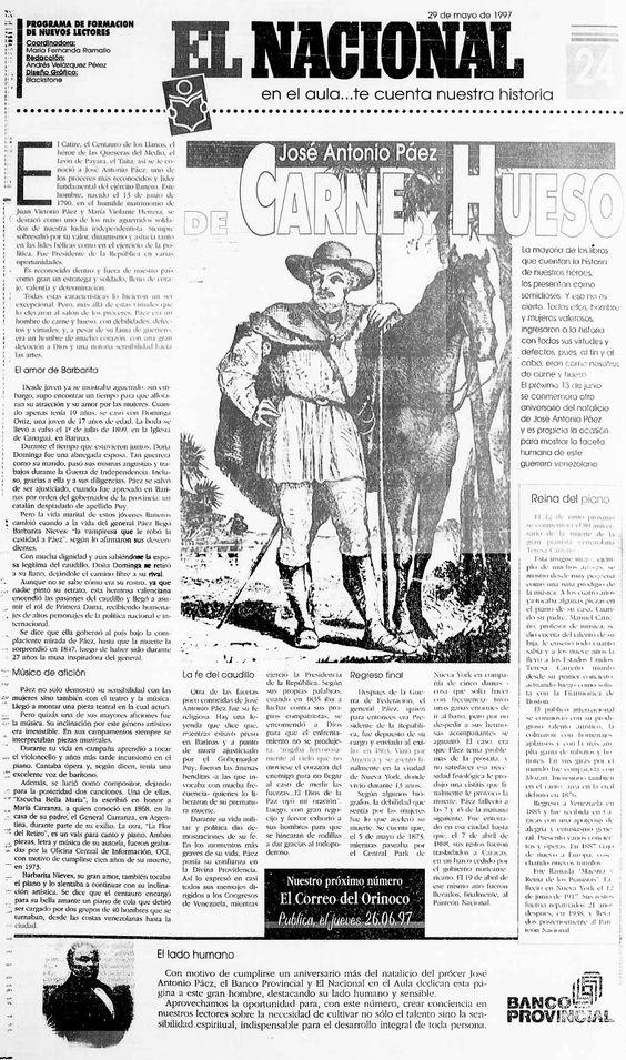 José Antonio Páez. Publicado 29-05-1997