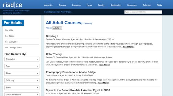 Risd Searchable List Of Courses That Hyperlink To Individual