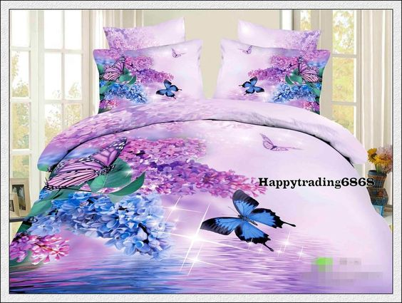 400T 100% Cotton Purple Butterfly KING QUEEN QUILT DOONA DUVET COVER PILLOWCASES…