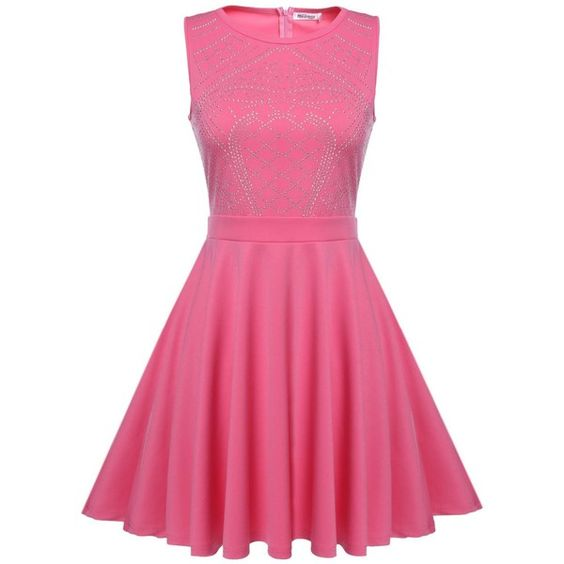 Meaneor Women's Sleeveless Rhinestone Embellished Fit and Flare Swing... (€25) ❤ liked on Polyvore featuring dresses, sleeveless fit and flare dress, fit flare dress, pink fit-and-flare dresses, pink fit and flare dress and swing dress