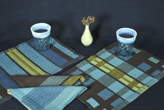 weave for the kitchen - blue and green placemats