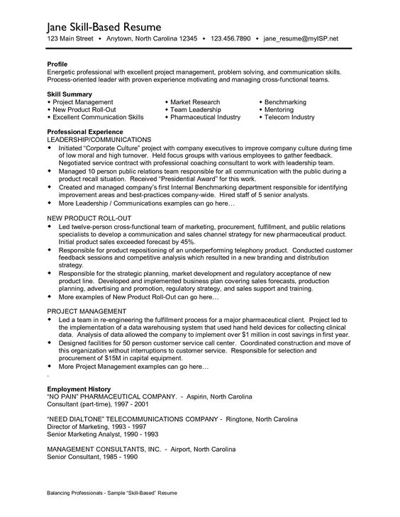 skill based resume examples Professional Skills Sample Resume - telecom consultant sample resume