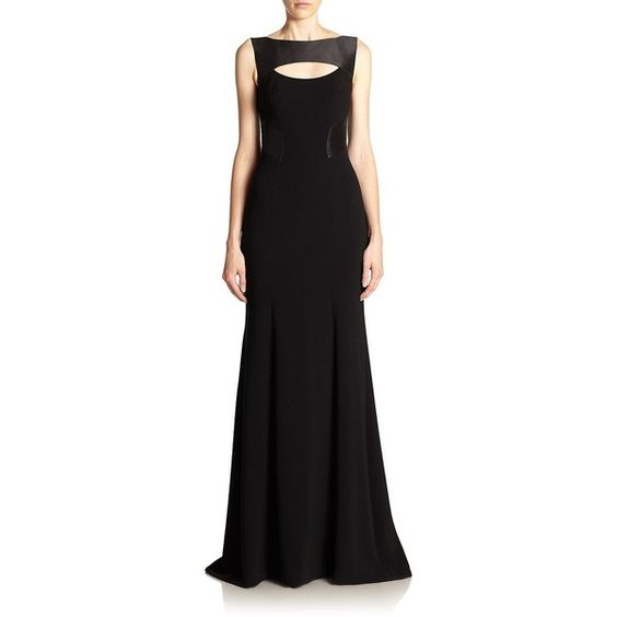 Theia Crepe Keyhole Gown ($330) ❤ liked on Polyvore featuring dresses, gowns, long dresses, apparel & accessories, black, sleeveless dress, panel dress, boat neck evening gown, sleeveless long dress and theia gowns