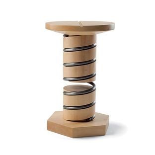 Spring Stool | Dwell SPRING STOOL  designer:Tamasine OsherGive the wooden seat of the Spring stool from Osher's debut collection a twist as you would the head of a screw, and its height adjusts accordingly.