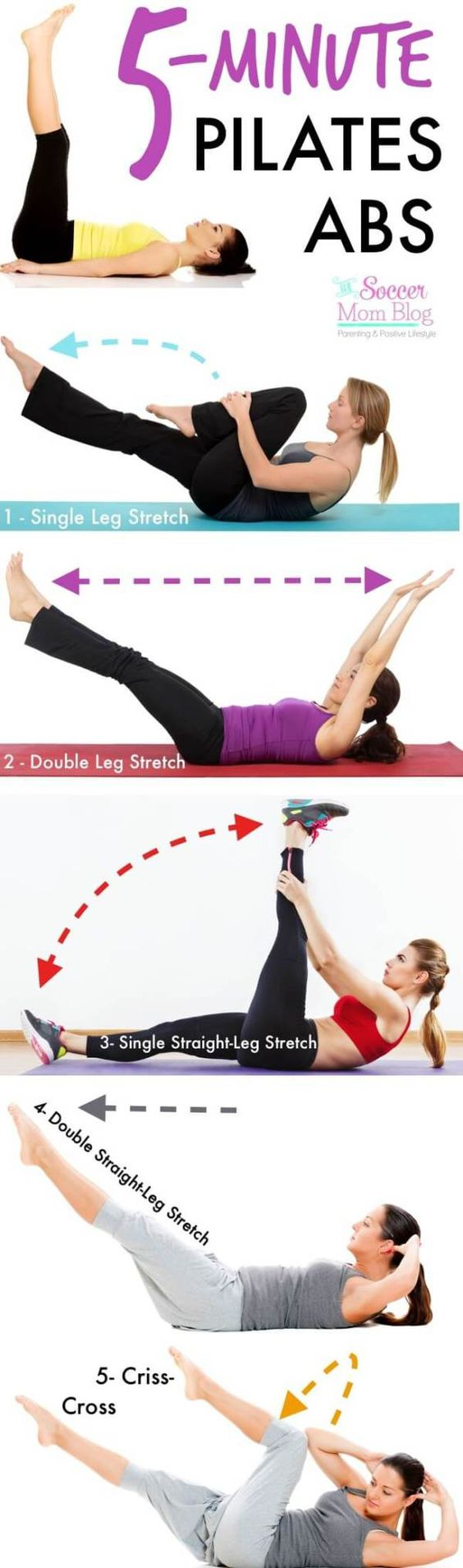 Blast fat and tone all muscles in your core with this amazingly effective 5-minute ab workout: the Pilates Series of Five - Step-by-step photo instructions