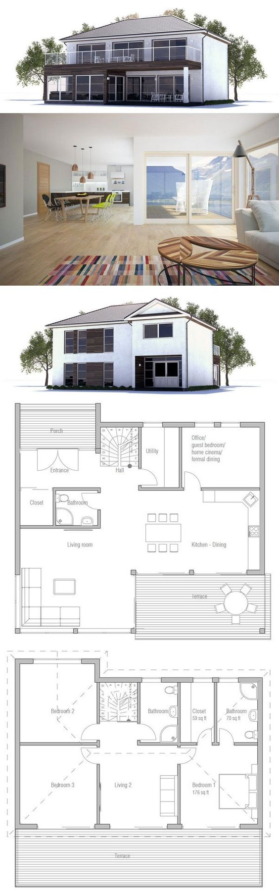 Modern House Plan from onceptHome.com mazing homes Pinterest ... size: 564 x 1806 post ID: 2 File size: 0 B