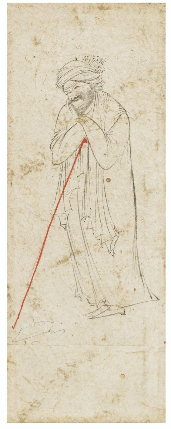 A DERVISH LEANING ON HIS STAFF, STYLE OF REZA-I 'ABBASI, PERSIA, SAFAVID, CIRCA 1600 pencil and ink on paper, lower section extended, gilt bordered mount, framed drawing: 9.8 by 3.5cm. frame: 19 by 12cm.