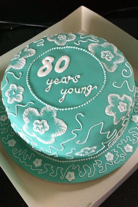 80th birthday brush embroidery cake