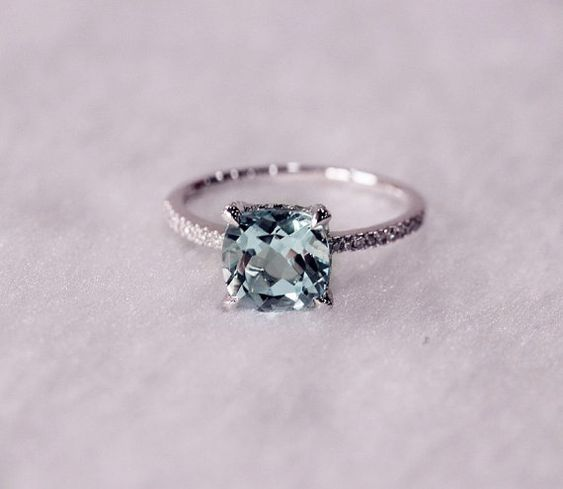 8mm Cushion Cut VS Aquamarine Ring Micro Pave H/SI by AdamJewelry, $359.00 OR THIS FOR PEYTON!