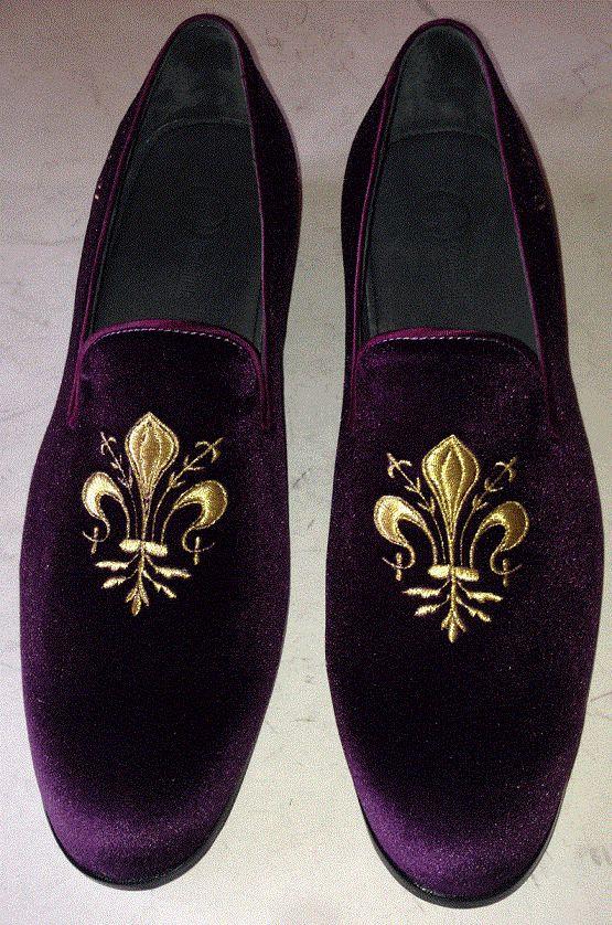 embroidered Velvet shoes for men Purple casual shoes Handmade men velvet shoes