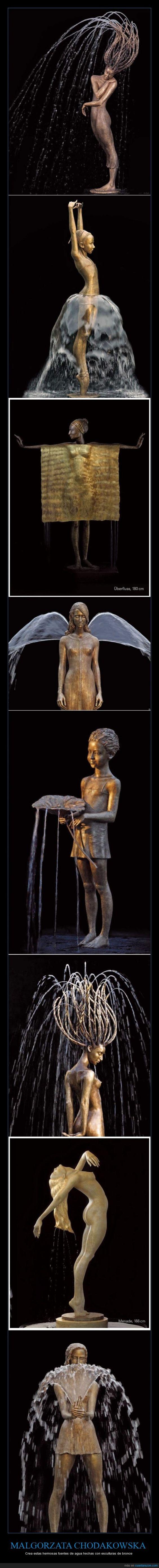 Malgorzata Chodakowska - Crea estas hermosas fuentes de agua hechas con esculturas de bronce