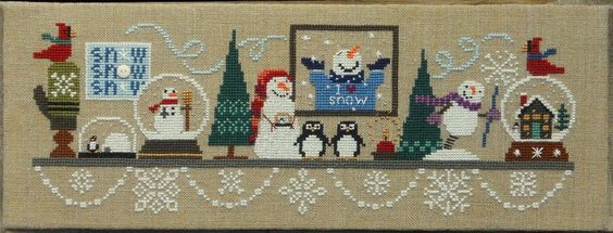 Bent Creek - Snowglobe Mantle Complete Kit [BC123-4-5] - $84.00 : Laurels Stitchery, The best little stitchery shop on the internet!