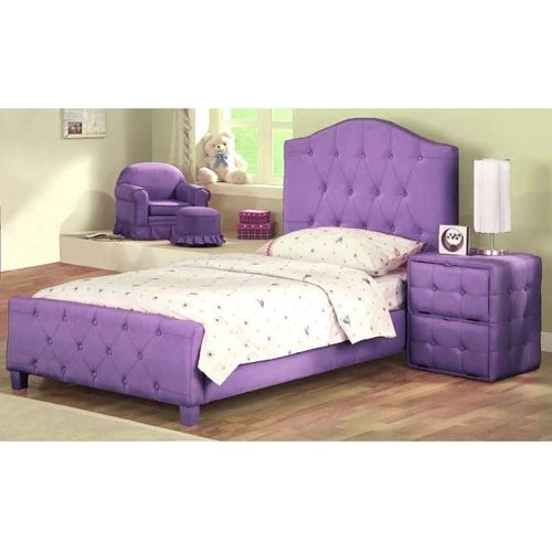 Bedroom Diva Upholstered Twin Bed With Headboard Footboard Purple