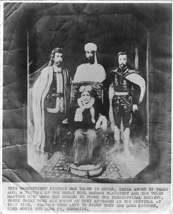 The Lords Koot Hoomi, Morya and Rakoczi standing behind a sitting Helena Petrovna Blavatsky, fake picture but nice ...