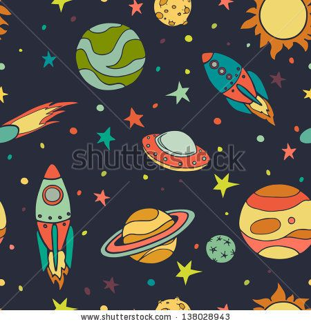 Seamless Pattern With Space, Rockets, Comet, Planets And Stars ...