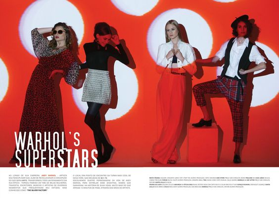 WARHOL´S SUPERSTARS - Fashion Editorial of Duetto Fashion #3 - The Winter Issue. Photo by Marcio Brigatto. Creative Direction: Raquel Gaudard. Styling: Aline Firjam, Raquel Gaudard, Camila Sigiliano. Hair/Make-up: André Pavam and Duda Pavam. Production assistant: Dany Almada. Scenography made with video mapping by Ateliê Digital Lab.