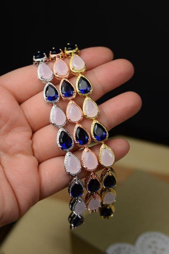 Blush pink navy blue ROSE GOLD Wedding Jewelry Bridesmaid Gift Bridesmaid Jewelry Bridal Jewelry Bracelet blush blue pink ,bridesmaid gift