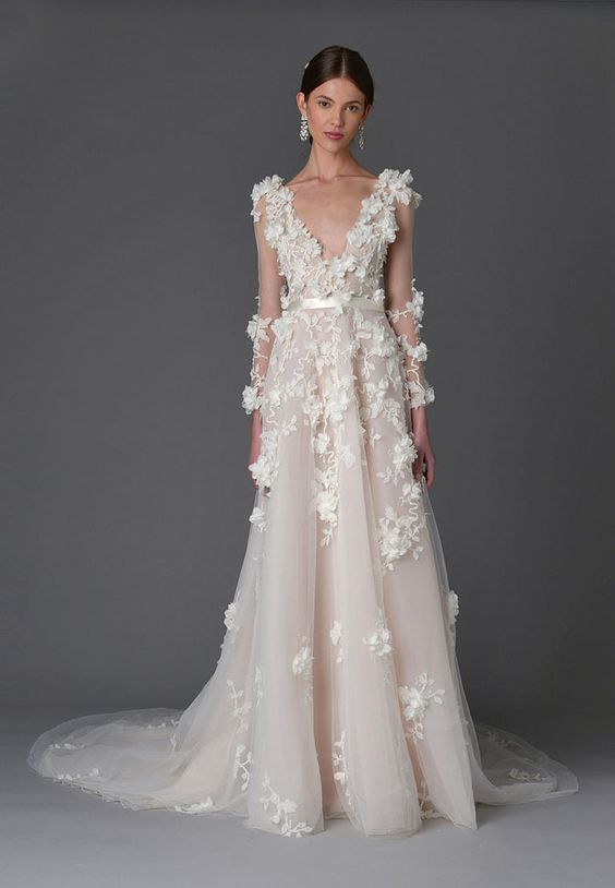 Long sleeve gown with plunging neckline and floral details | Marchesa Spring 2017 | https://www.theknot.com/content/marchesa-wedding-dresses-bridal-fashion-week-spring-2017