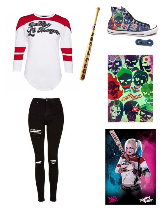 """Svicide Squad: Harley Quinn"" by aesthetically-cynical ❤ liked on Polyvore featuring Converse and Topshop"