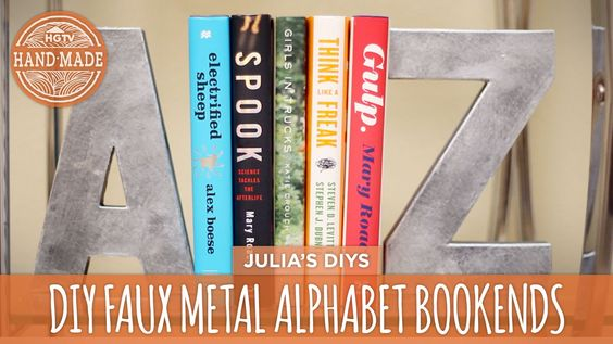 DIY Faux Metal Bookends + Bookshelf Styling Tips! - HGTV Handmade