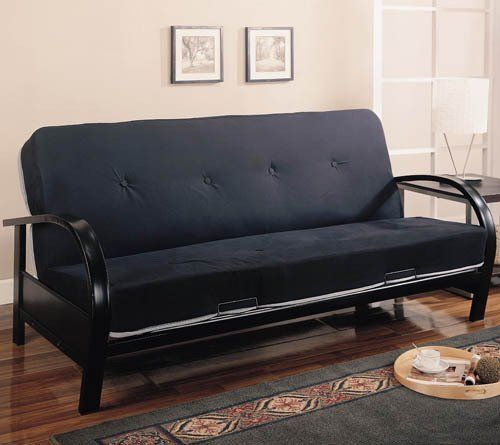 Futons Contemporary Metal Futon Frame - Coaster 300159 by Coaster Home Furnishings. $225.73. Durable construction. Futon pad not included with frame. Please order pad separately.. Smooth frame all in a Black metal finish. Contemporary futon frame. This cool contemporary futon frame will give your spare bedroom or den a stylish look. The sleek metal arms gently arc into simple square legs, with a smooth frame all in a Black metal finish. Easily convert from a couch for lounging, ...