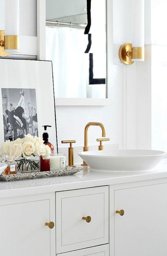 brass bath empire state gold bathroom makeovers master bath brass gold