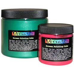 Versatex Printing Ink, made for screen printing, can also be used to hand paint dense felt, organza or other fabric. Does not change the hand of the fabric. myb