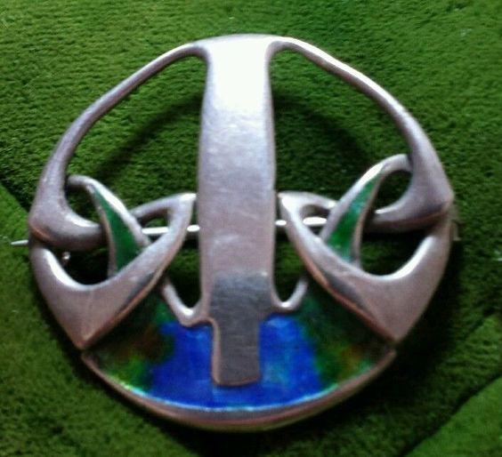 FABULOUS Liberty & Co CYMRIC silver & Enamel  pin brooch by Archibald…