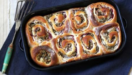 BBC - Food - Recipes : Turkey, stuffing and cranberry Chelsea buns by Paul Hollywood