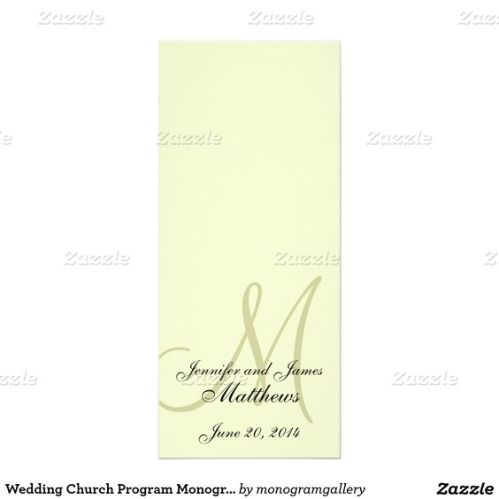 Wedding Church Program Monogram Ivory Cream 4x925 Paper - church program