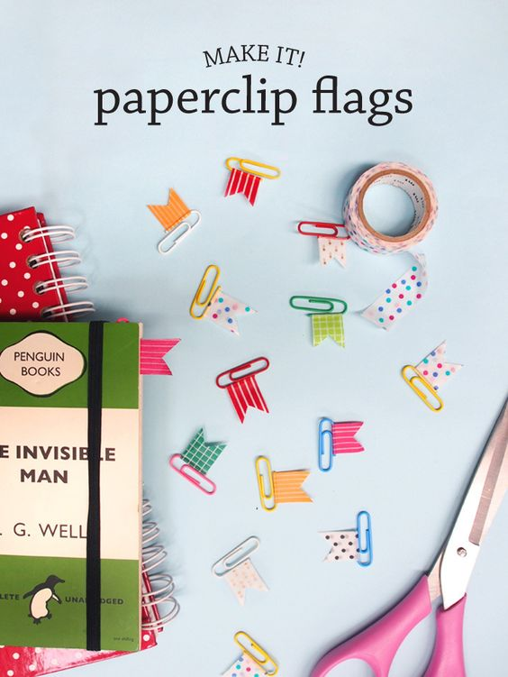 Learn how to make these adorable paperclip flags by @lauraimurray | DIY craft washi tape flags