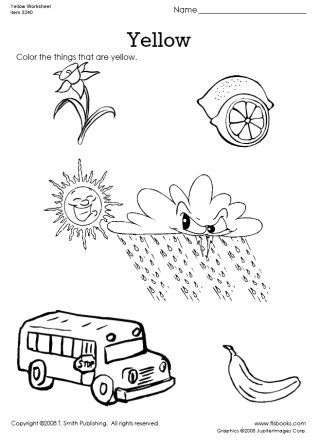 the color yellow coloring pages | Worksheets, Yellow and Colors on Pinterest
