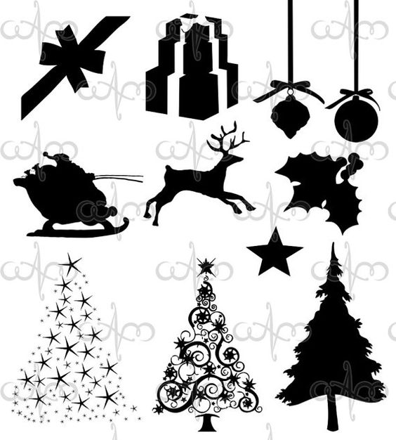 Christmas Silhouette Clip Art Graphic Design Pattern for your art projects. $5.00, via Etsy.