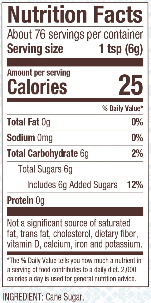 Nutrition Facts Bob S Red Mill Sparkling Sugar Ingredient Cane Sugar Over 99 95 Sucrose Sp Sugar Ingredients Calories In Sugar Wholesome Sweeteners