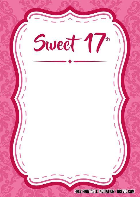 free printable sweet 17th birthday