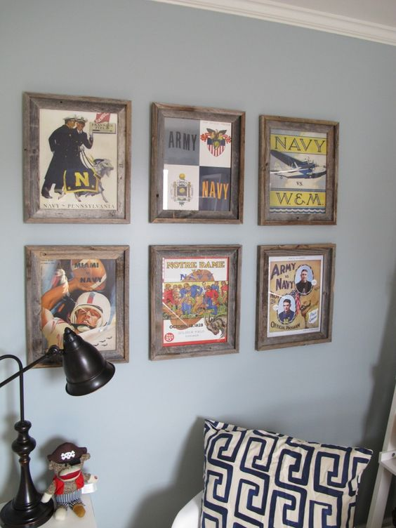 Love these vintage Navy prints in this baby boy nursery! #nursery #wallart #babyboy