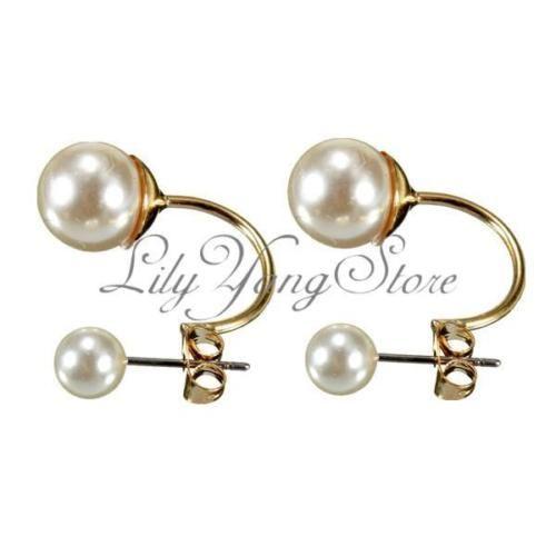 Luxus-Damen-Ohrhaenger-Ohrringe-Ohrstecker-doppelt-Perlen-Perlenohrringe-Mode