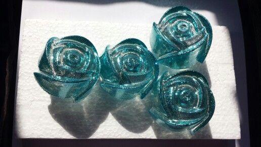 Hand cast glitter resin roses drawer knobs/handles turquoise
